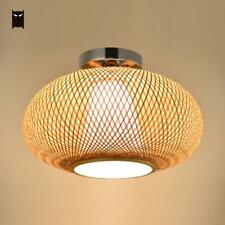 Bamboo Wicker Rattan Ceiling Light Fixture Japanese Asian Rustic Lamp Balcony