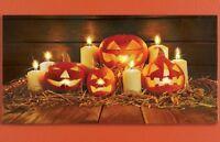Lighted Pumpkin Jack o Lantern Wall Canvas Art  New Halloween