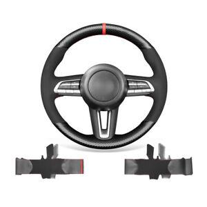 Black Suede Carbon Fiber Car Steering Wheel Cover Wrap For Mazda 3 Axela CX-30