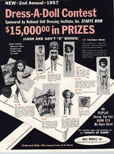 1957 PAPER AD 4 PG Doll Bodies Undressed Doll Dressing Contest Lingerie Lou