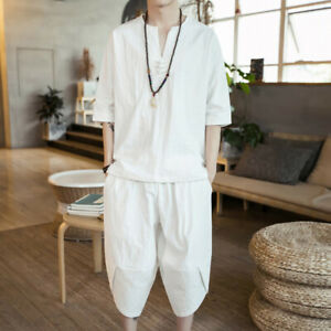 Men shirt and Capri Pants Set Outfit 3/4 Sleeve Frog Button T-shirt Tops Summer