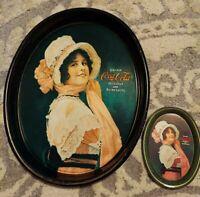 2 Coca Cola Vintage Tin Oval Trays 1914 Calendar Girl BETTY Delicious Refreshing