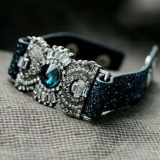Punk Rock Bling Crystal Diamanté Leopard Soft Leather Cuff Bangle Bracelet