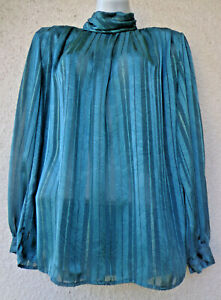 Vintage 80s Green Satin Russian Cossack Style Blouse High Collar Gold Stripes M