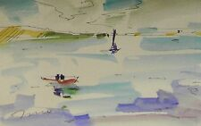 JOSE TRUJILLO ORIGINAL Watercolor Painting MODERNIST IMPRESSIONISM Boasts Sea