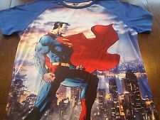 SUPERMAN All Over Printed Polyester Superhero DC Comic Graphic T-Shirt (XL) NWOT