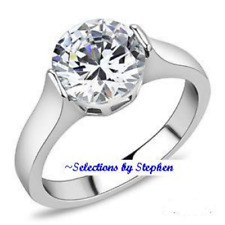 PLATINUM/STEEL ALLOY 3 CARAT IDEAL HEARTS+ARROWS SIMULATED MOISSANITE RING SZ 8