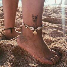 Damen Boho Schale Muschel Fußkettchen Fußkette Baum Kette Strand Sandale Neu