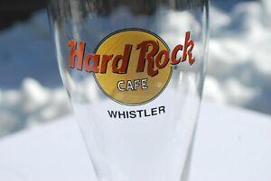"HARD ROCK CAFE GLASS WHISTLER PILSNER 8 1/2"" TALL MINT"