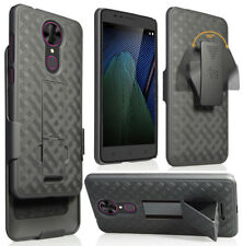 Black Kickstand Case Cover + Belt Clip Holster for T-Mobile Revvl Plus 3701A 6""