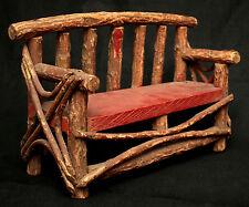 "Settee, Bench, Miniature, Naturalistic Rustic willow twig, Adirondack, c1900,15"""