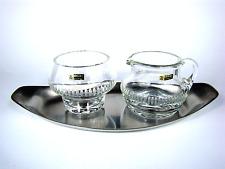 WMF Rahmservice 3 tlg. Glas Schale Kännchen Cromargan Tablett Wagenfeld 60er
