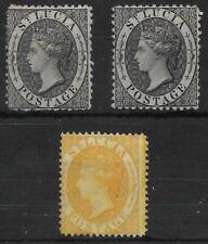 More details for st. lucia 1864-76. 1d. black x 2, 4d. yellow unused, mainly no gum. (464)