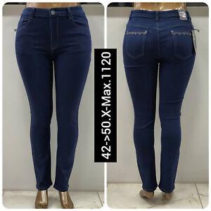 Ladies Plus Size highwaist Stretch Denim Blue Curve Straight Leg Womens Jeans