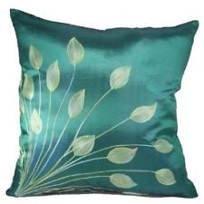 Throw Pillow Cover Lotus Leaves Silk Teal Green 18 x 18 inch Home Decor Office
