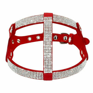 RED BLING CHIHUAHUA PUPPY OR CAT SAFETY HARNESS AND LEASH RHINESTONE SMALL SIZE