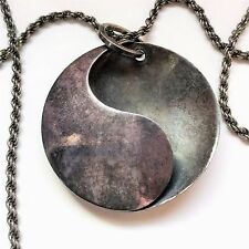 "925S Sterling Silver YIN YANG Pendant 30"" Necklace Handmade DENMARK Ying 925 S"