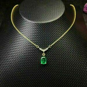 "1.80CT Oval Green Emerald & Diamond Stunning Pendant W/18"" 14k Yellow Gold Over"