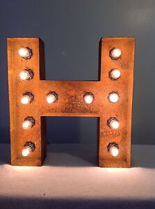 """New Rustic Metal Letter H Light Marquee: Sign Wall Decoration 12"""" Vintage"""