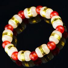 New Fine 24K Yellow Gold & Hetian Jade Link 8mm Red Agate Bead Woman's Bracelet