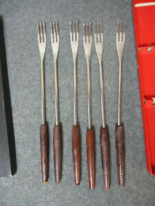 Vintage WOODCREST Fondue Forks w/Wood Handles Set 6 Color Coded w/ Box