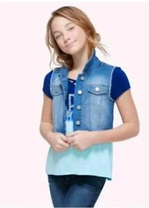 30 chest Aqua Girls Small Denim VEST Childs Teen Size Small Blue Green Dyed Upcycled Highway Jeans Cotton Denim Vest