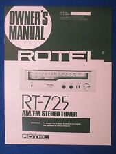 ROTEL RT-725 TUNER OWNER MANUAL FACTORY ORIGINAL ISSUE THE REAL THING