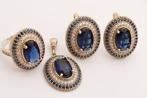 Turkish Jewelry Small Oval Sapphire Topaz 925 Sterling Silver Jewelry Set