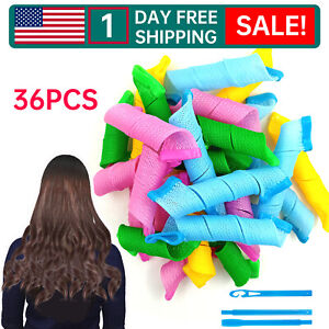 36PCS Hair Curlers Wave Formers No Heat Magic Hair Rollers Styling Kit SET NEW -