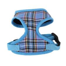 Pet Dog Puppy Plaid Mesh Adjustable Harness Clothes Chest Vest Size L Blue
