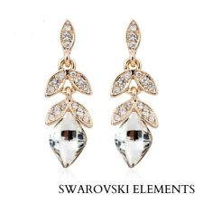 boucles d'oreille feuilles longue goutte d'eau transparente Swarovski® Elements