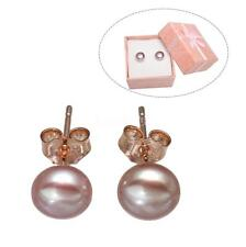 1 Pair Freshwater Pearl Small 100% Real Natural Jewelry Stud Earrings Rose Gold