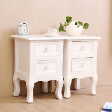 Pair of Shabby Storage Bedside Tables 2 Drawer Bedroom Nightstand Unit Cabinet