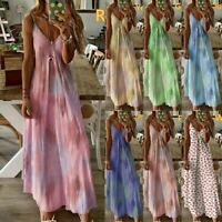 Women Summer Beach Strappy Floral Long Maxi Dress Lady Holiday Party Sundress