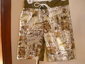 MEN'S REEF BOARDSHORTS COOL KHAKI & BROWN/WHITE GRAPHIC PRINT SZ 30