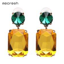 Mecresh Violet/Yellow ZARA Fashion Geometric Crystal Dangle Drop Earring EH1187