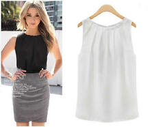 Women Sleeveless Solid Chiffon T-shirt Blouse Formal Clothes White Black Top Tee