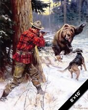 GRIZZLEY BEAR ENCOUNTER HUNTER & DOGS HUNTING PAINTING ART REAL CANVAS PRINT