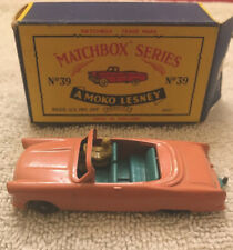 Vintage Matchbox Ford Zodiac Covertible Pink NO #39 Grey Wheels