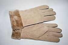NEW Atmosphere Women's Beige Suede Leather 5 Fingers Gloves Fur Trim Winter M L