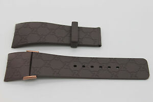 "I Gucci 26mm Genuine Replacement Strap Men's Brown Gucci  ""G"" With Rose Accents"