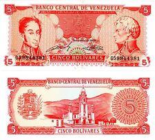 VENEZUELA Billet 5 BOLIVARES 1989 P70 LIBERTADOR / DE MIRANDA UNC NEUF