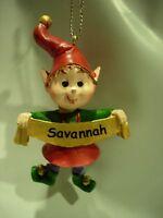 NEW BOY GIRLS NAME SAVANNAH CHRISTMAS TREE ORNAMENT ELF PIXIE HOLIDAY XMAS ELVES