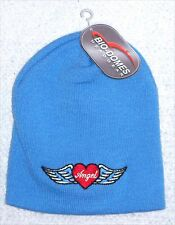 EMBROIDERED WINGED HEART ANGEL LOGO BLUE BEANIE SKI HAT CAP NEW NWT