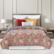 Rhapsody Red Paisley King 3 Pc Quilt Set-Licensed April Cornell Artist-Cotton
