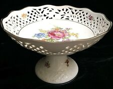 BEAUTIFUL Antique Schumann Reticulated Hand Painted Fruit Compote
