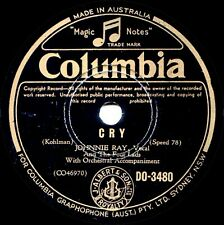 JOHNNIE RAY 'Cry / The Little White Cloud That Cried' OZ Columbia 78rpm 1952 EX+