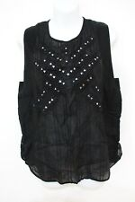 Twelfth Street by Cynthia Vincent Sheer Cotton Embellished Top M NWT