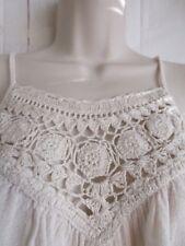 Billabong Women Tank Top Crochet Embroidered Boho Festival Light Sz M Beige C5
