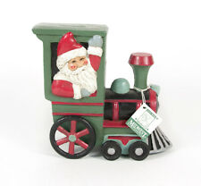 Rare Midwest of Cannon Falls Cast Iron Coin Bank Holiday Train Teddy Bear Santa